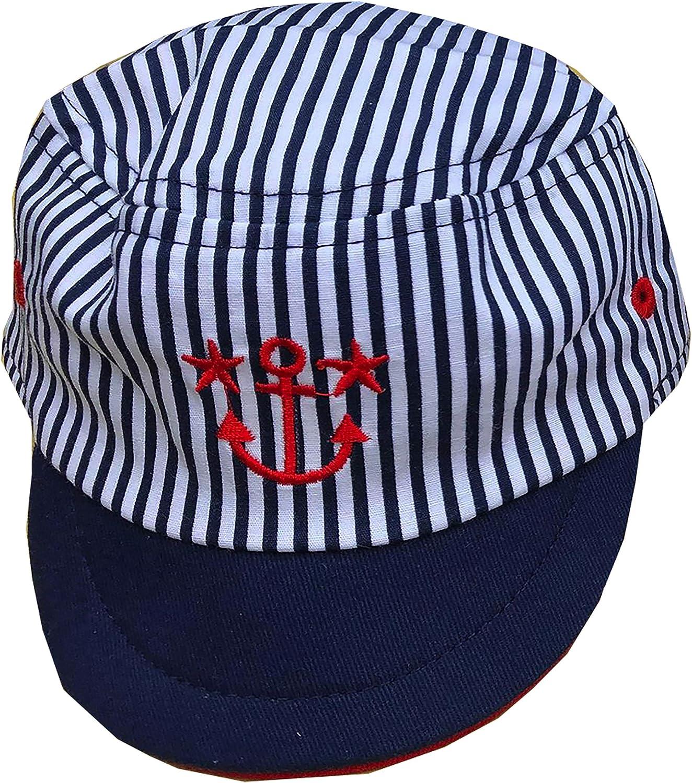 Baby Boys Cotton Striped Sun Cap//Hat Nautical Anchor Design Navy /& White