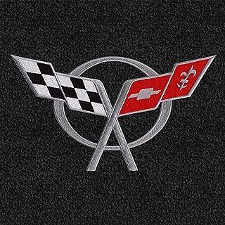 Lloyd Mats - LUXE Black Front Floor Mats For Chevrolet Corvette 1997-04 with Silver C5 Flags Applique