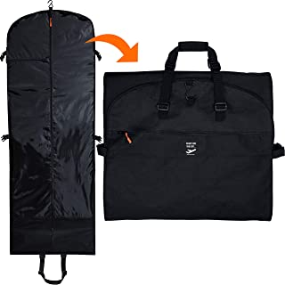 66 In Premium Trifold Garment Bag for Travel   Extra Long Women Dress, Men Suit, Wedding and Formal Gown   Hanging, Breathable, Foldable, 7 Pockets, Full Length Airplane Traveling Carry On for Clothes