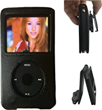 Aiboco Black Leather Case with Belt Clip for Apple iPod Classic 160GB 120GB 80GB, iPod Video 30GB 60GB 80GB