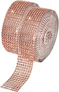 Mandala Crafts Faux Diamond Bling Wrap, Faux Rhinestone Crystal Mesh Ribbon Roll for Wedding, Party, Centerpiece, Cake, Vase Sparkling Decoration (1.5 Inches 8 Rows 20 Yards, Champagne)