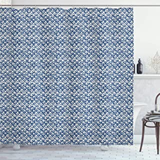 Ambesonne Ethnic Shower Curtain, Hand Drawn Style Indonesian Batik Pattern with Curves and Small Triangles, Cloth Fabric Bathroom Decor Set with Hooks, 75