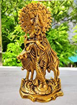 WC_Lord Krishna Statue with Cow Janmashtami Metal Krishna Statue Figurine with murli Bansi - Antique Hindu Gopal Krishna I...