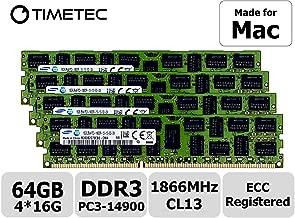 Timetec Compatible for Apple 64GB KIT (4x16GB) DDR3 1866MHz PC3-14900 Registered ECC RDIMM Server Memory RAM Module Upgrade for Mac Pro Late 2013 A1481 MQGG2LL/A MD878LL/A ME253LL/A(64GB KIT (4x16GB))