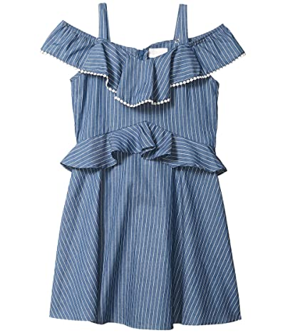 BCBG Girls Lightweight Denim Ruffle Dress w/ Pom-Pom (Big Kids) (Indigo Stripe) Girl