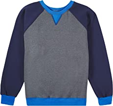 Fruit of the Loom Boys' Fleece Crewneck Sweatshirt, CHARCOAL HEATHER/GHOST NAVY/PACIFIC BLUE, Medium