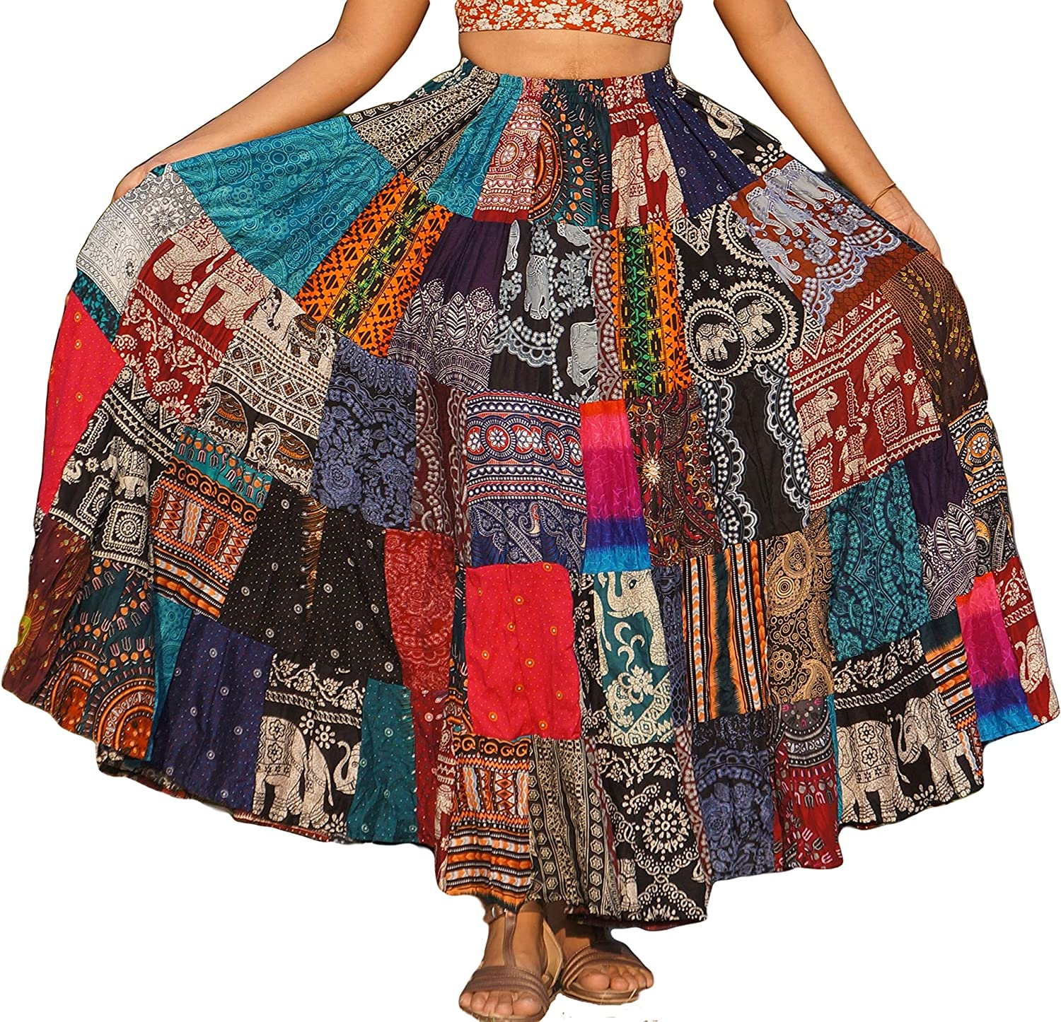 ThaiOnline20u Patchwork Skirt Long Boho Colorful Unique Gypsy Tiered Maxi  Full Flared Rayon, Multicoloured, Large