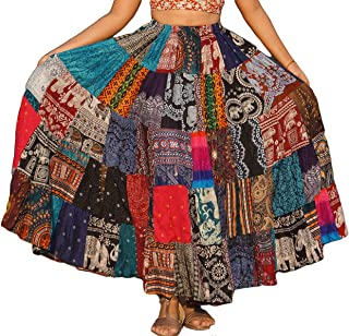 Patchwork Skirt Long Boho Colorful Unique Gypsy Tiered...