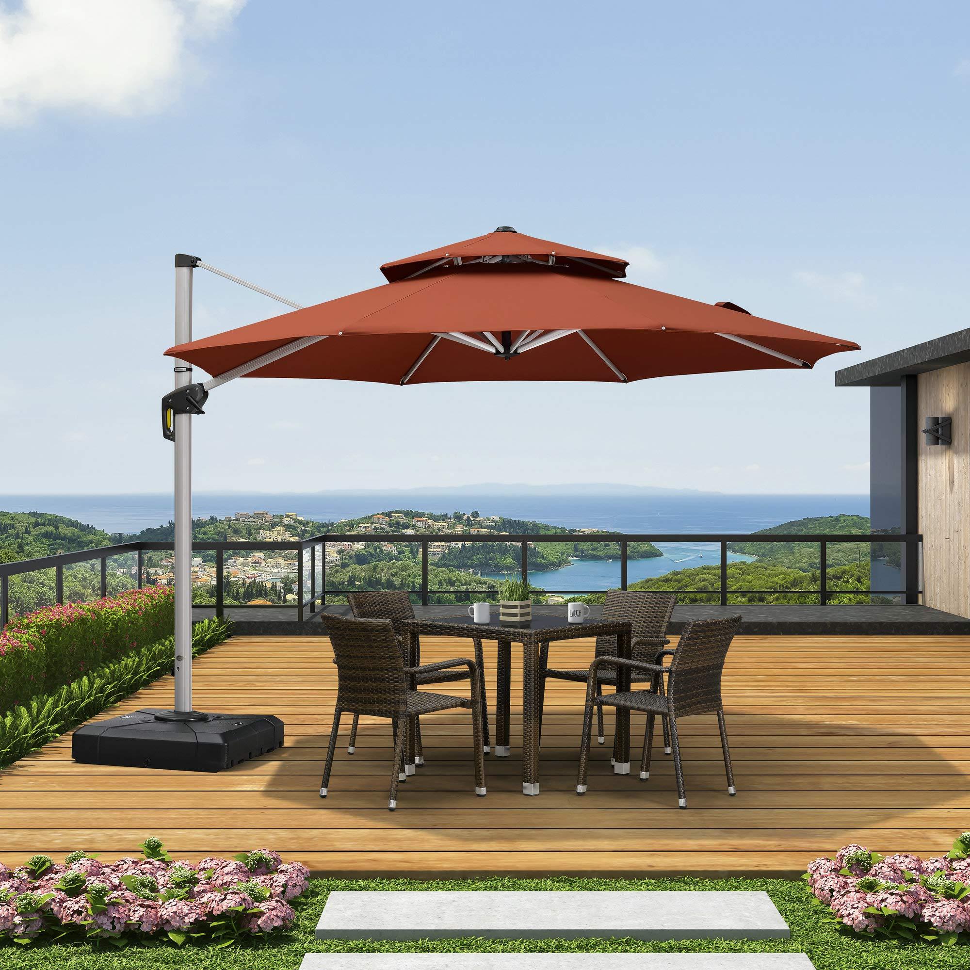 PURPLE LEAF Paraguas de jardín con diseño de Hojas moradas y Doble ...