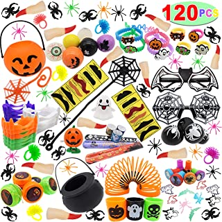 120 PCs Halloween Assortment Party Favors Toys for Halloween Trick or Treat Goody Bags Prizes, Classroom Reward, Miniature Novelty Goodie Bag Fillers, Treasure Chest Toys.