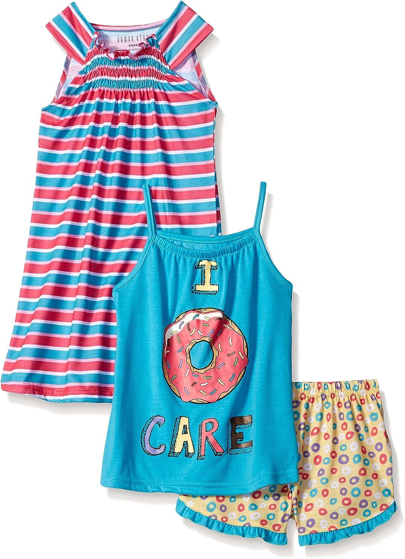 Komar Kids Girls' Big 3 Piece Jersey Pajama Set