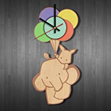Funny Elephant Design Wood Wall Clock - Modern Wood Wall Clock - Gift Ideas for his and her - Handmade Home Room Wall Art Decor