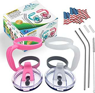 11 PCS,2 Spill Proof 30 oz Tumbler Lids+2 Handles+2 Stainless Steel Straws+2 Silicone Tips+1 Cleaning Brush+2 Flag stickers, Fits Yeti Ramblers and other 30 oz Tumblers same as yeti size(Clear-CandyP)