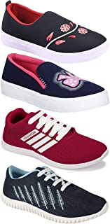 Camfoot Women's (9041-5027-994-5048) Multicolor Casual Sports Running Shoes (Set of 4 Pair)