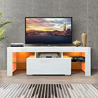 DMAITH TV Stand with LED Lights, 1 Drawer and Open Shelves High Gloss Entertainment Center Media...