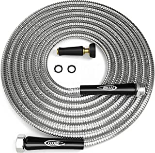 TITAN 50FT Metal Garden Hose | Stainless Steel Water Hose with Solid Aluminum Connectors 360 Degree Brass Nozzle Lightweight Kink Free Strong Durable and Heavy Duty