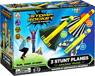 The Original Stomp Rocket Stunt Planes - 3 Foam Plane Toys for Boys and Girls - Outdoor Rocket Toy Gift for Ages 5 (6, 7, 8) and Up