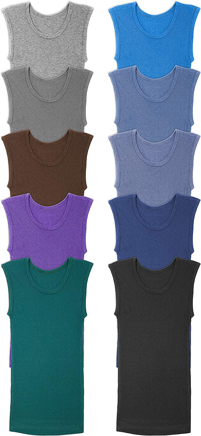 Andrew Scott Boys' Muscle Tank Top   Cotton Color Sleeveless Crew Neck Undershirts -Pack of 10