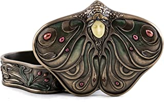 Top Collection Art Nouveau Princess Jewelry Box- Butterfly Trinket Container in Premium Cold Cast Bronze-2-Inch Collectible Keepsake Box