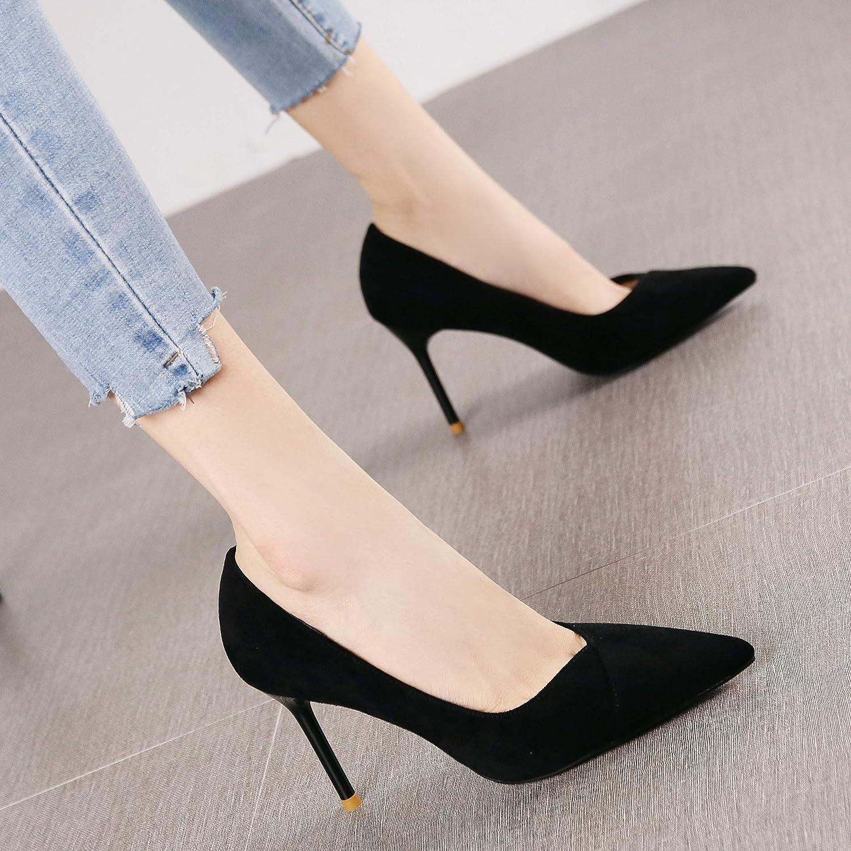 HRCxue Pumps Joker Schwarze Spitze Wildleder Arbeitsschuhe Mode schlanke Stiletto Heels einzelne Schuhe weiblich, 36, schwarz
