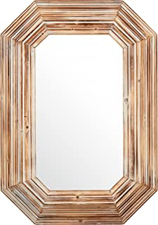 Stone & Beam Vintage-Look Octagonal Hanging Wall Mirror Decor, 39.5 Inch Height, Tan and White