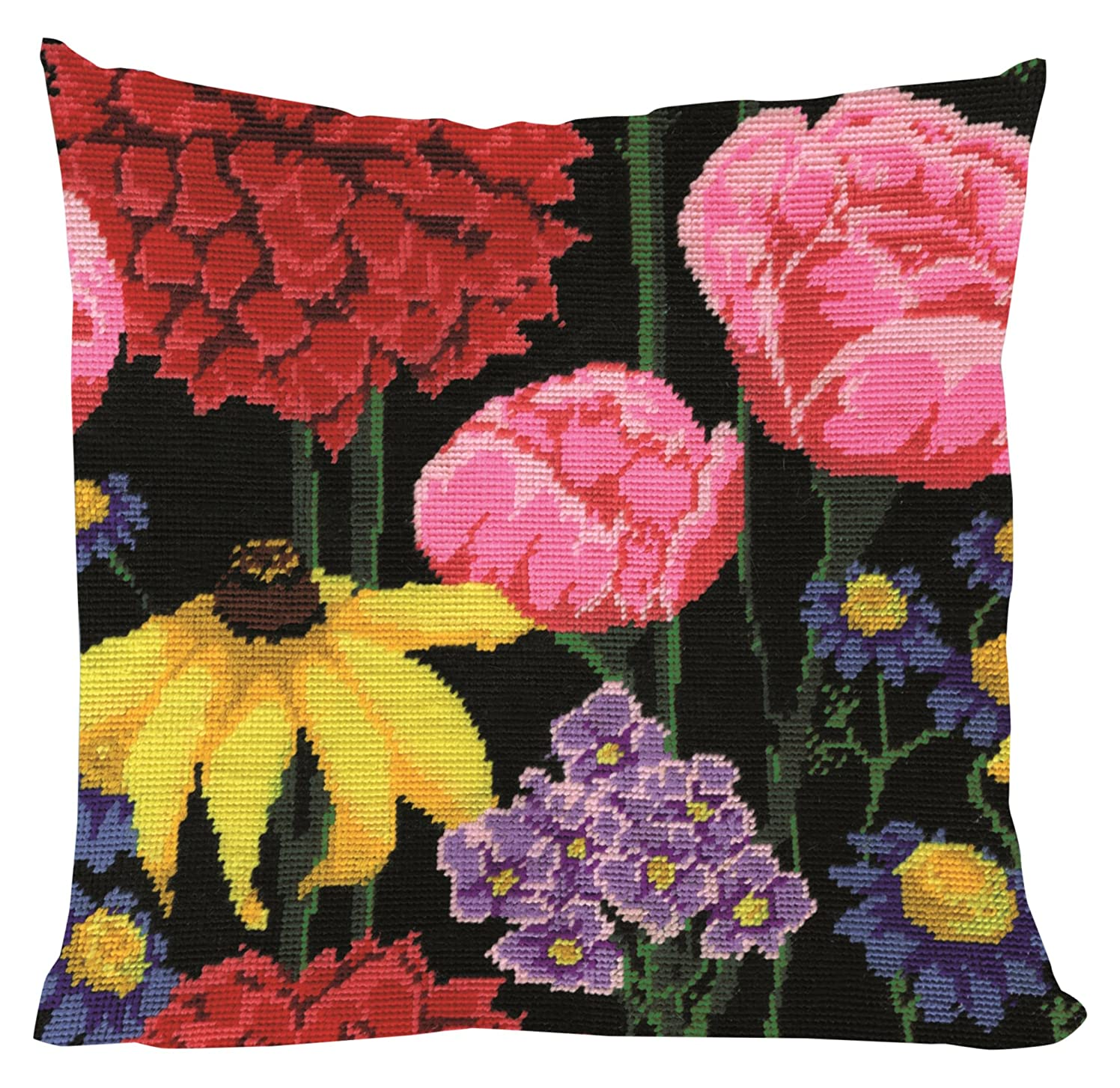 Tobin 2615 Stitched in Acrylic Yarn Midnight Floral Needlepoint Kit, 12