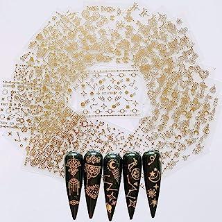 24 ورق ناخن چسب طلایی رنگ برچسب ورق برچسب Moon Star Universal اشکال گل ورق استیکر ناخن هنر Deco 10057