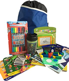 Travel Activity Bag Kit for Kids - Keep Children Busy on the Airplane or in the Car. For Boys or Girls Age 6-12. Backpack, Toys, Games, Crafts, Travel Cup and More. 15 Activity Bundle.