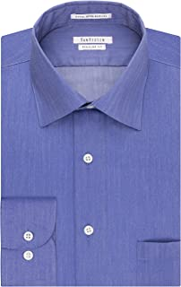Van Heusen Men's Herringbone Regular Fit Solid Spread Collar Dress Shirt
