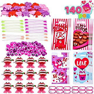140 Pcs Valentines Day Stationery Set with Treat Bags for Kids Party Favor, Classroom Exchange Prizes including Sticky Str...