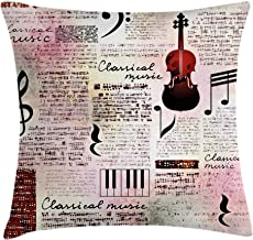 Ambesonne Old Newspaper Decor Throw Pillow Cushion Cover, Classical Music Theme Instruments Piano Violin Notes Symbols, De...