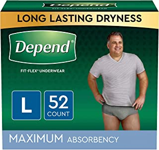 Depend FIT-FLEX Incontinence Underwear for Men, Maximum Absorbency, Disposable, L, Grey, 52 Count (2 Packs of 26) (Packagi...