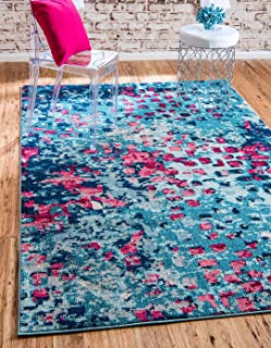 Unique Loom Jardin Collection Vibrant Abstract Blue Area Rug (5' 0 x 8' 0)