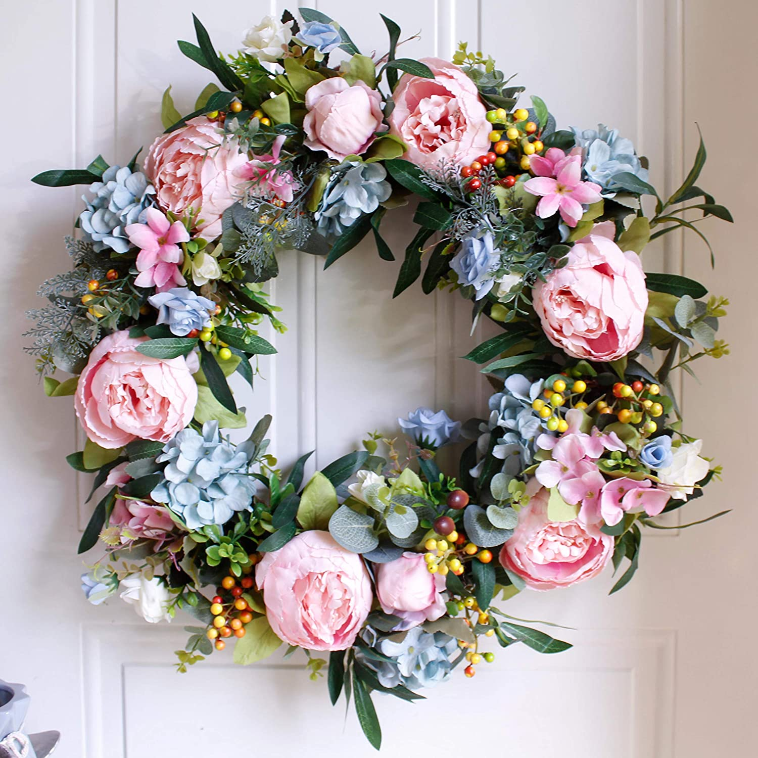 """Dseap Wreath - 22"""", Peony  Large Rustic Farmhouse Decorative Artificial Flower Wreath, Faux Floral Wreath for Front Door Window Wedding Outdoor Indoor - Round, Pink & bluee"""