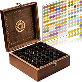 Beautiful Essential Oil Storage Box 49 Bottle - Holds 5-15ml & 10ml Roller Bottles - Free Roller Bottle Opener & 192 EO Labels - Wooden Oil Case Holder
