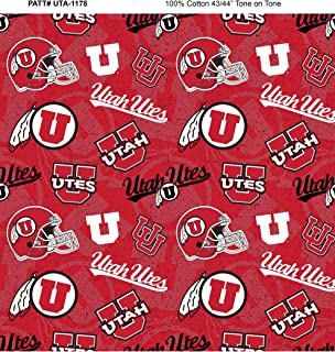 University of Utah Cotton Fabric with New Tone ON Tone Design Newest Pattern