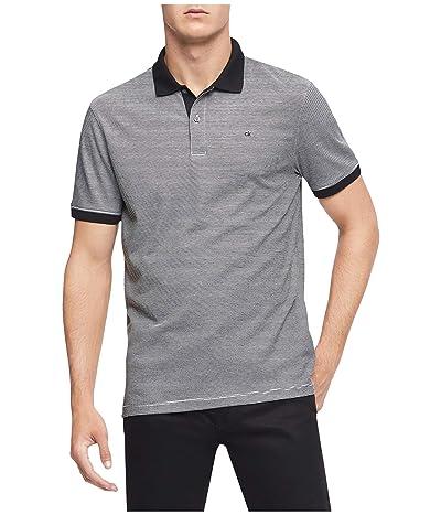 Calvin Klein S/S 2 Button Liquid Cotton Interlock Polo (Black Combo) Men