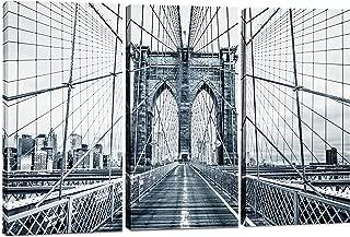 Canvas Wall Art Decor -12x24 3 Piece Set (Total 24x36 inch) B&W Brooklyn Bridge NYC - Decorative & Modern Multi Panel Split Canvas Prints for Dining & Living Room, Kitchen, Bathroom, Bedroom & Office