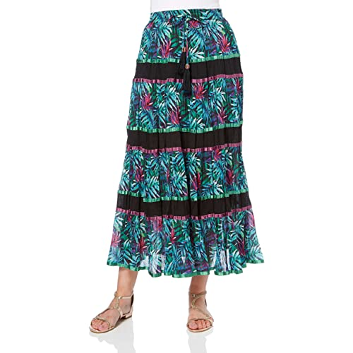 605406e743 Roman Originals Women's 100% Cotton Summer Floral Tropical Print Tiered  Flowing Maxi Length Skirt -
