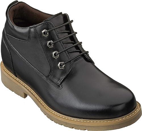 Calto Invisible Altura Aumentar Elevador zapatos - botas de Trabajo de Cuero con Cordones y Punta rojoonda - 3.2 Pulgadas más Alto