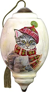 Ne'Qwa Art Hand Painted Blown Glass Ornament, Winter Kitten - Cat