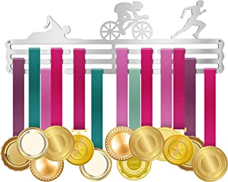 ULwysd Triathlon Medal Hanger Display Holder Rack Hook for 50+ Medals, Stainless Steel, Triathlon Swimming Running and Cycling (15.7
