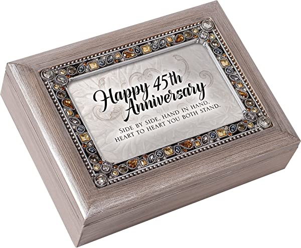 Cottage Garden Happy 45th Anniversary Brushed Pewter Jewelry Music Box Plays You Light Up My Life