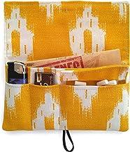 Pitillera tabaco de liar color amarillo, tabaquera tela Lenguas Mallorquinas