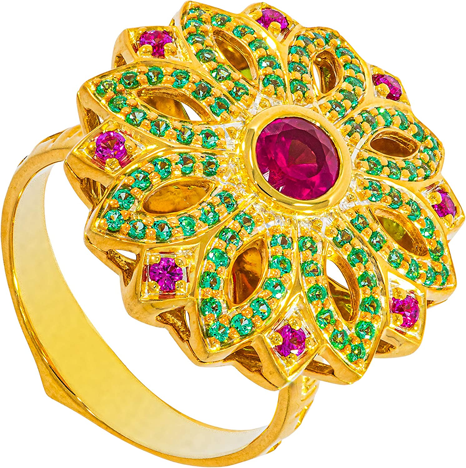 Carrington Collection Golden Plated 22K Ring with CZ Ruby and CZ Emeralds 97 pcs Stones Total Weight 0.92 Ct for Girls Woman Ladies and Ring Lovers Birthday Gift Engagement Anniversary Mother's Day Gift size 7.75
