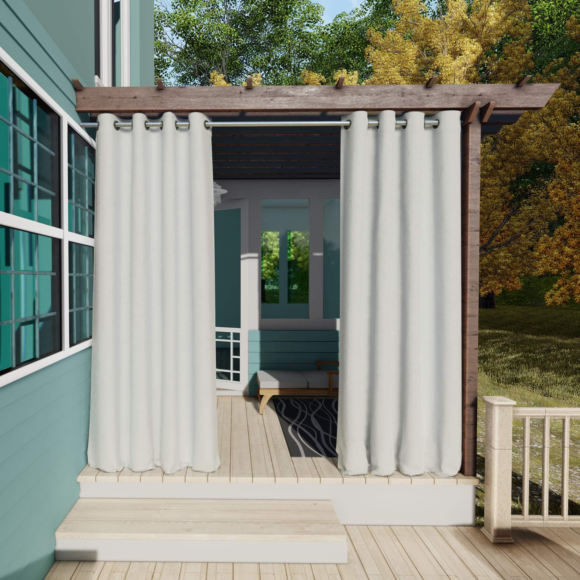 132x275cm Blanco Gris Cortinas para Exteriores con Ojales, Resistentes al Viento, Resistentes al Agua, Resistentes a la harina, para jardín, balcón, casa de Playa, vestíbulo, Cabana: Amazon.es: Jardín