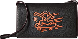 COACH Keith Haring Leather Fold-Over Clutch Crossbody,Black