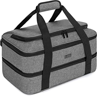 Trunab Double Decker Casserole Carrier for Hot or Cold Food Insulated Casserole Dish Carrier Thermal Tote Bag for Picnic, Fits 9