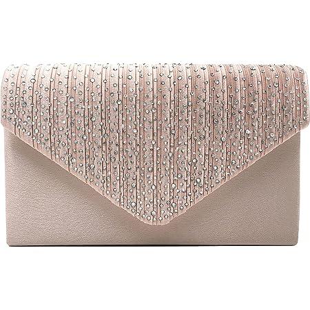 Milisente Damen Abendtasche Glitter Clutch Hochzeit Schultertasche Elegante Handtasche (Champagner)