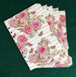 A5 Filofax Organiser Dividers in Beautiful Rose /& Black Stripe Fully Laminated
